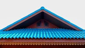 La Camera con il tetto blu vivo e la configurazione con scolpiscono lo stile Immagini Stock