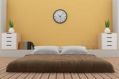 La camera da letto con la decorazione nella stanza gialla in 3D rende l'immagine Fotografia Stock Libera da Diritti