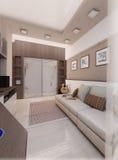 La camera da letto del giovane, interior design, rende 3D Immagini Stock Libere da Diritti