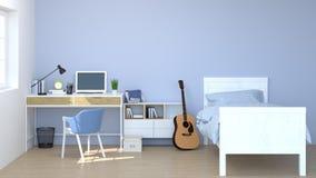 La camera da letto ha scrittorio, gabinetto, materiali di apprendimento, taccuino, sofà davanti alla parete svuota gli interior d Illustrazione Vettoriale
