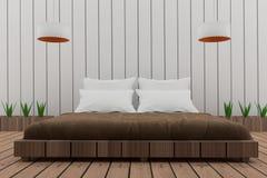 La camera da letto nella progettazione del sottotetto in 3D rende l'immagine Fotografia Stock Libera da Diritti