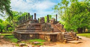 La camera del Consiglio, Polonnaruwa, Sri Lanka Panorama Fotografia Stock
