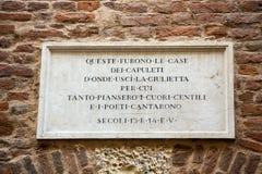 la Camera del ` s di Giulietta Juliet dei Di della casa; Via Cappello; Verona Fotografia Stock