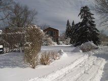 La Camera di legno ha nevicato dentro Fotografie Stock Libere da Diritti