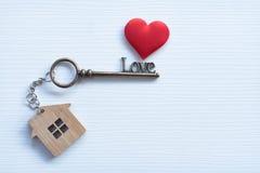 La Camera digita la forma del cuore con l'anello portachiavi domestico su fondo di legno bianco decorato con mini cuore immagini stock libere da diritti