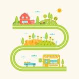 La Camera, le colline ed i campi dell'azienda agricola hanno illustrato il programma di strada Comcept di agricoltura Immagini Stock Libere da Diritti