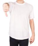 La camiseta del hombre manosea con los dedos abajo fotos de archivo libres de regalías