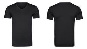 La camiseta negra, ropa aisló el fondo blanco Fotos de archivo libres de regalías