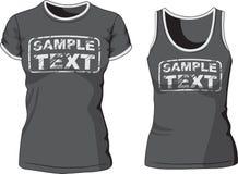 La camiseta y la camiseta de las mujeres en blanco Vector ilustración del vector