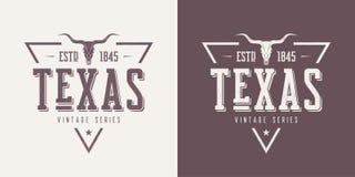 La camiseta y la ropa texturizadas estado del vector del vintage de Tejas diseñan, ilustración del vector
