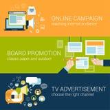 La campaña publicitaria infographic del estilo plano mecanografía concepto Foto de archivo