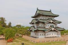La canalisation gardent le donjon du château de Hirosaki, ville de Hirosaki, Japon Image stock