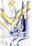 La candela e la bottiglia ceramiche della teiera di natura morta illustrazione di stock