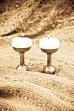 La candela e la sua fiamma Fotografia Stock