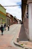 La Candelaria. BOGOTA, COLOMBIA - MAY 06, 2014: The narrow streets of La Candelaria. La Candelaria the historic center of Bogotá. Colombia's capital city was Stock Photo