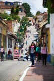 La Candelaria. BOGOTA, COLOMBIA - MAY 06, 2014: The narrow streets of La Candelaria. La Candelaria the historic center of Bogotá. Colombia's capital city was Royalty Free Stock Image