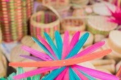 La canna ha fatto i fiori colorati artificiali Fotografia Stock