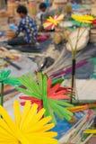 La canna ha fatto i fiori colorati artificiali Immagini Stock