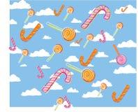 La canne à sucre et le llollipop du ` s d'enfants dirigent le modèle d'illustration photos libres de droits