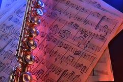 La cannelure transversale et le vieux bleu rouge de musique de feuille ont illuminé l'elevat Images libres de droits