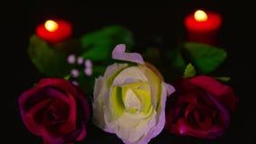 La cantidad de rosas rojas y rosadas florece con la quema roja de la vela Día de tarjeta del día de San Valentín almacen de metraje de vídeo