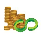 La cantidad ilimitada de infinito del dinero acuña concepto Imagenes de archivo