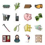 La capa, el humo, la apicultura y el otro icono del web en estilo de la historieta palillo, pecho, iconos de los cajones en la co ilustración del vector