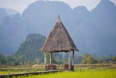 La capanna della paglia fra il giacimento del riso Immagini Stock Libere da Diritti