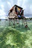 La capanna di legno del pescatore di Bajau Immagini Stock Libere da Diritti