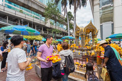 La capilla de Erawan en Bangkok Foto de archivo libre de regalías