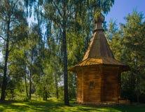 La capilla de madera de la nueva iglesia de Jerusalén debajo de Moscú Fotos de archivo libres de regalías
