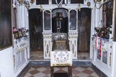 La capilla ortodoxa griega en la isla del ratón en la isla griega de Corfú Fotos de archivo