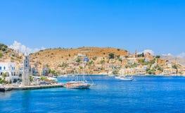 La capital de la isla de Symi - Ano Symi Fotografía de archivo