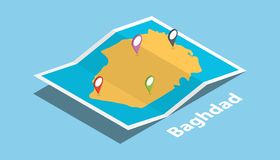 La capitale de Bagdad Irak explorent des cartes avec le style isométrique et goupillent l'étiquette d'emplacement sur le dessus illustration stock