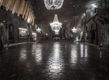 La cappella 101 della st Kinga misura la metropolitana con un contatore nella miniera di sale di Wieliczka Fotografia Stock