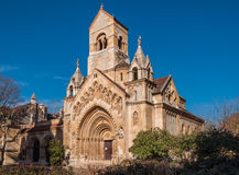 La cappella di Jak nel castello di Vajdahunyad è un chuch cattolico di funzionamento, situato a Budapest Fotografie Stock
