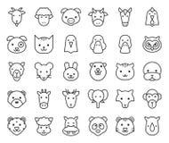 La cara animal linda incluyó la granja, el bosque y los animales africanos, diseño del esquema libre illustration