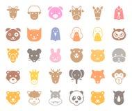 La cara animal linda incluyó la granja, el bosque y los animales africanos, diseño sólido ilustración del vector