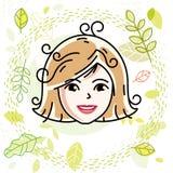 La cara caucásica de la mujer que expresa emociones positivas, vector al ser humano stock de ilustración