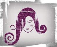 La cara de la muchacha stock de ilustración
