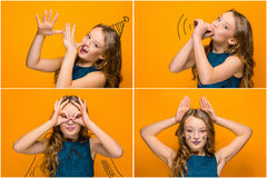 La cara de la muchacha adolescente feliz juguetona Foto de archivo