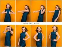 La cara de la muchacha adolescente feliz juguetona Fotos de archivo