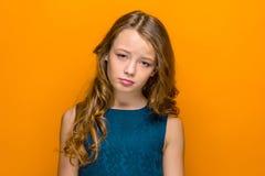 La cara de la muchacha adolescente triste Imagen de archivo