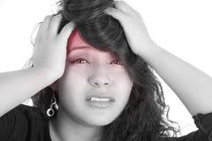La cara de la muchacha con color selectivo del dolor de cabeza Fotografía de archivo