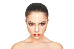 La cara de la muchacha con maquillaje creativo de la Navidad Fotografía de archivo libre de regalías