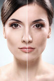 La cara de la mujer antes y después de retoca Fotos de archivo