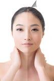 La cara de la mujer asiática hermosa antes y después de retoca Imagen de archivo libre de regalías