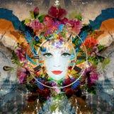 La cara de la mujer brillante de los colores Stock de ilustración