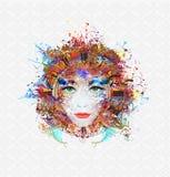 La cara de la mujer brillante de los colores Libre Illustration