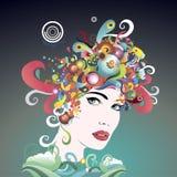 La cara de la mujer brillante de los colores Ilustración del Vector